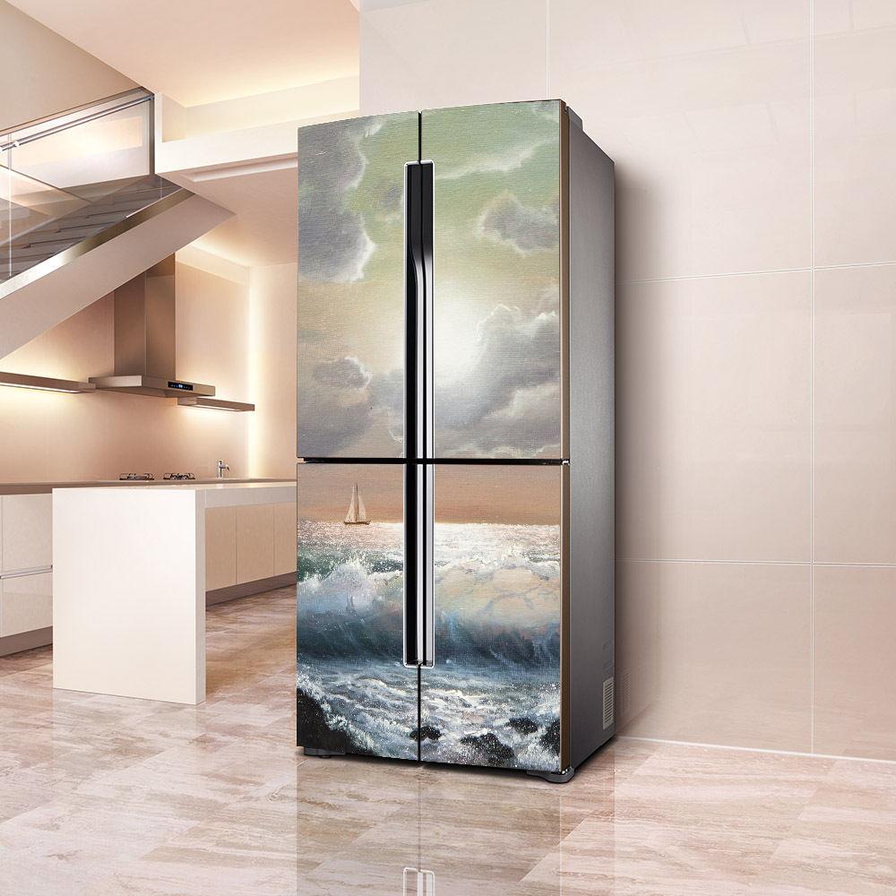 Film Waterproof And Oil Proof Refrigerator Decorative Stickers Self-adhesive PVC Single Open Double Open Refrigerator Door Decor