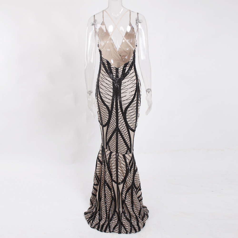 Sleeveless Deep V Neck Black Sequined Dress Backless Stretchy Long Mermaid Dress 12