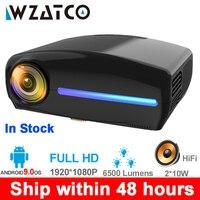 WZATCO C2 1920*1080P Full HD 45 градусов цифровой светодиодный проектор keystone android 9,0 Wifi опционально портативный домашний проектор