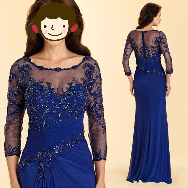 Royal Blue Long Memaid Mother Of The Bride Dresses 2019 Cheap Appliqued Long Sleeve Mother Gown Mother Formal Evening Dress
