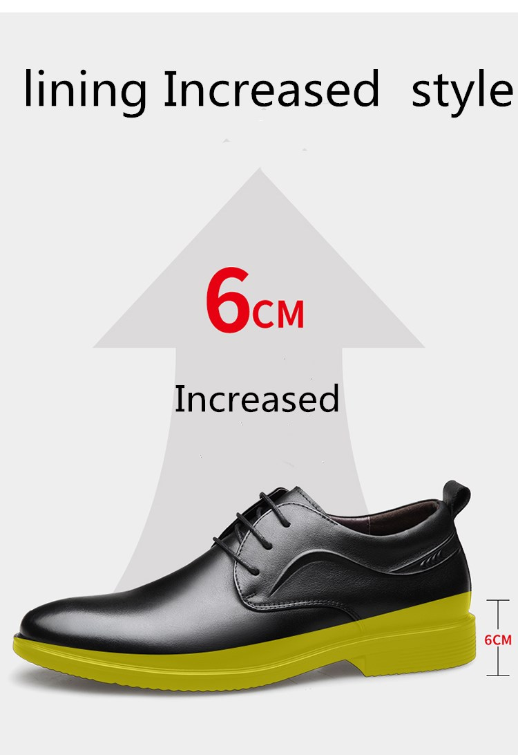 2019 New Height increasing 6cm Men Business Dress shoes Classic wedding Formal Shoes Quality Genuine Leather Men Elevator Shoes