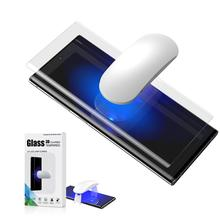 Vidro uv com impressão digital desbloquear para samsung galaxy note 10 plus protetor de tela vidro temperado para nota 10 plus curvo capa