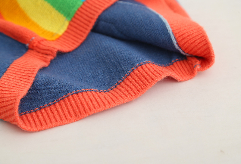 SAILEROAD 2-7Years Rainbow Embroidery Knitted Sweater for Girl Autumn Cardigan for Boys Warm Sweaters for Girls Kids Clothes 5