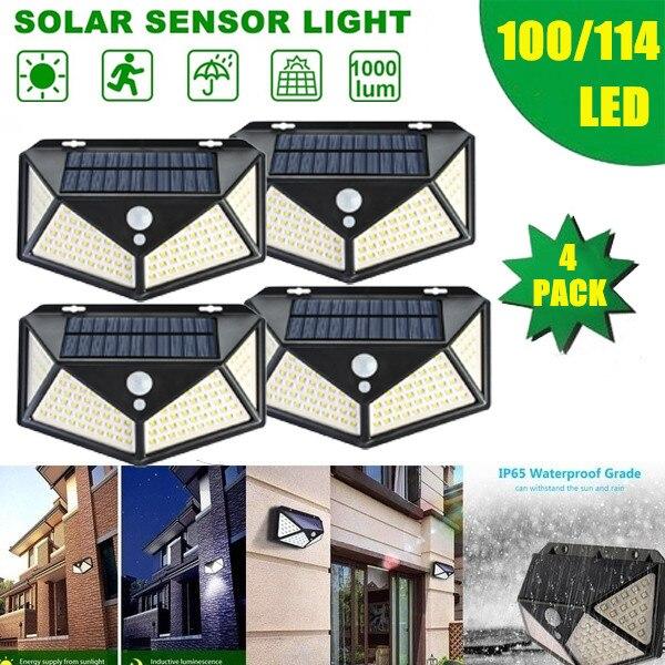 DIDIHOU 100/114 LED Four-Sided Solar Power Light 3 Modes 270 Degree Angle Motion Sensor Lamp Outdoor Waterproof Garden Lamps