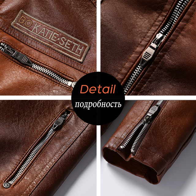 Ucrazy Men 2021 Autumn New Brand Casual Motor Distressed Leather Jacket Coat Men Winter Vintage Outwear Faux Leather Jackets Men 6