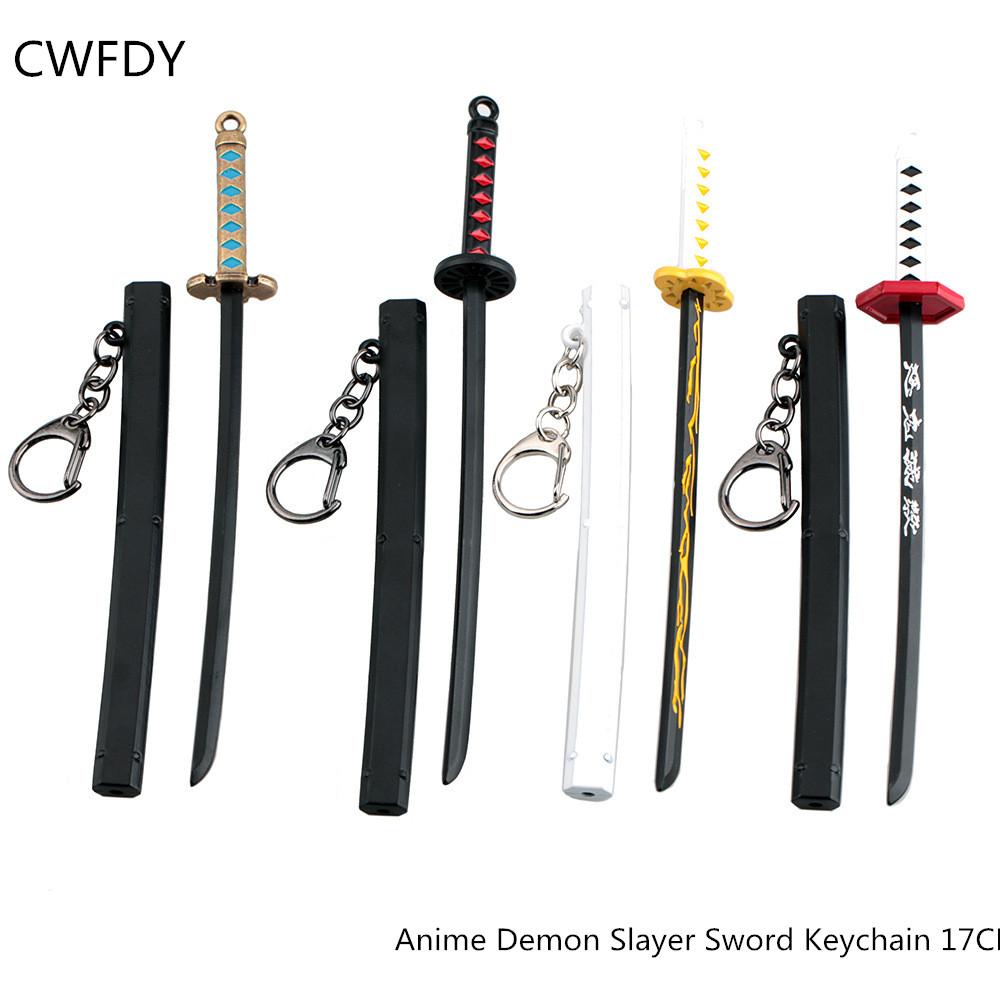 Hot Demon Slayer Sword Keychain Japan Anime Demon Slayer Kimetsu No Yaiba Cartoon Kamado Tanjirou Blade Of Ghost Weapons Props
