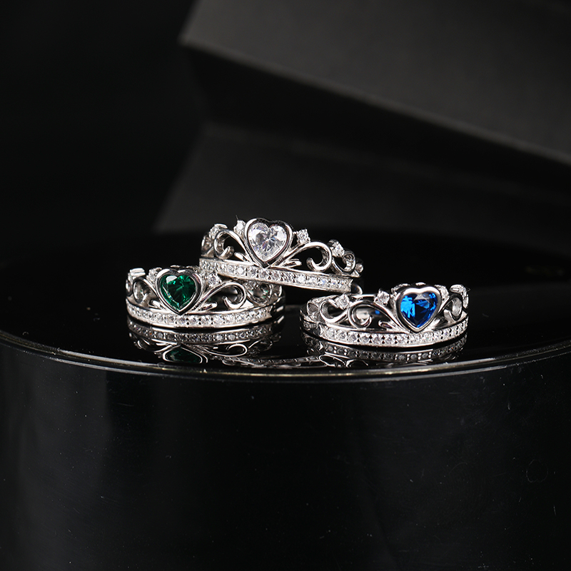 Fashionable 925 Sterling Silver Crown Ring Exquisite Heart-Shaped Ring Women's Jewelry Suitable For Women's Jewelry