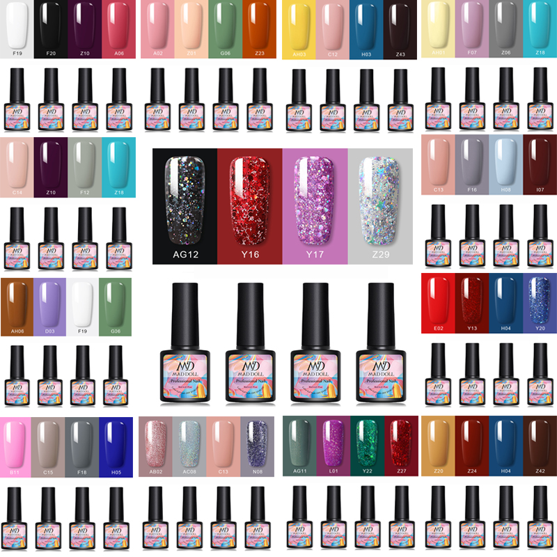 8ml 4 Pcs/Set MAD DOLL Colorful Gel Nail Polish Varnishing Set For UV LED Gel Varnish Set Soak Off Gel Polish For Nail Art