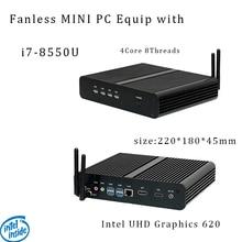 Newest Kaby Lake R 8Gen Fanless mini pc i7 8550u Intel UHD620 win10 Quad Core 8 Threads DDR4 2400 NUC Freeshipping pc