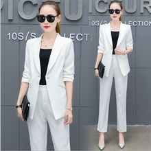 2017 Womens 2 Piece Set Black Pant Suit Office Uniform Two Trouser Female Pantsuit White Pink Yellow Orange