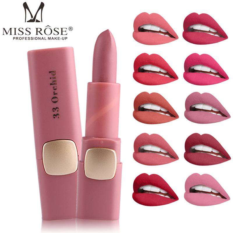 2019 New Rose Brand Makeup Pigments Nude Color Cosmetics Matte Miss Lipstick Waterproof Sexy Moisturizer Velvet Lip Stick image