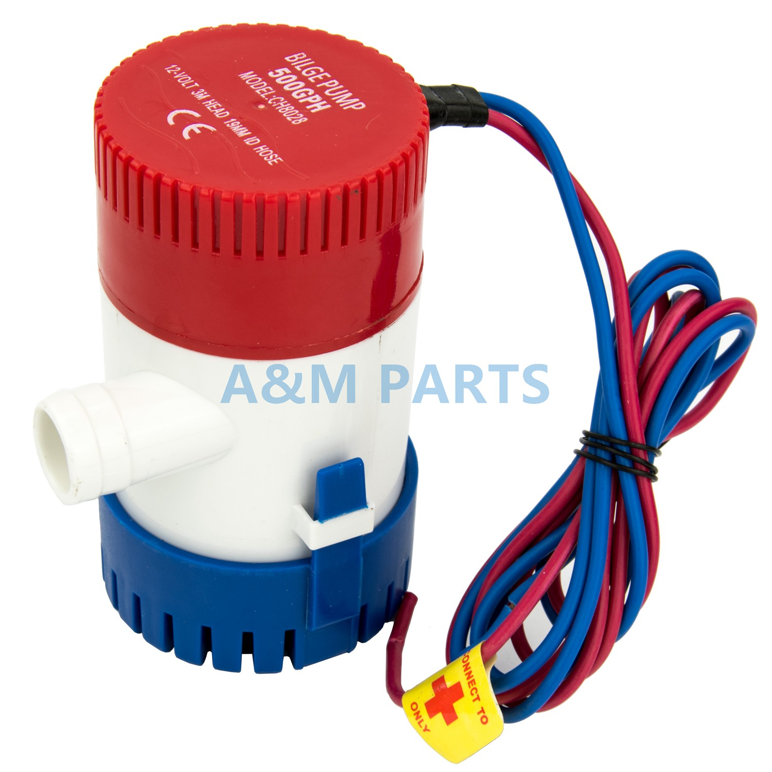 12V 500 GPH Boat Bilge Pump Marine Submersible Water Sump Pump With Float Switch