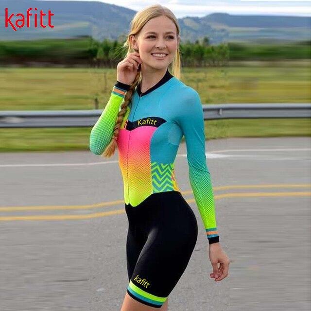 Kafitt ciclismo wear ciclismo wear terno de penetração de bicicleta de montanha feminina camisa de manga comprida apertado ao ar livre roupas esportivas 4