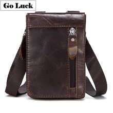 GO-LUCK Genuine Leather Casual Waist Belt Crossing Pack Mens Mobile Cell Phone Pouch Case Men Cowhide Shoulder Messenger Bag