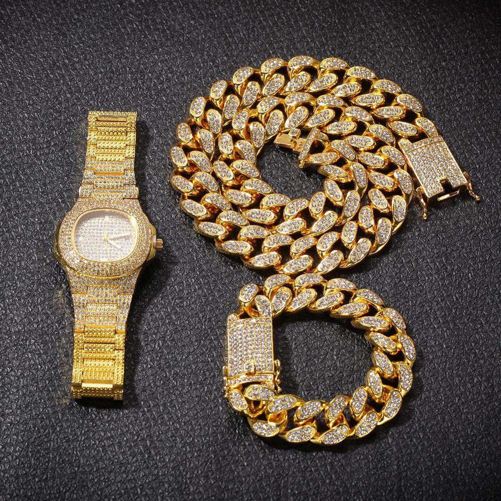 20mm grand large chaîne cubaine collier Bracelet et montre 3 pièces hommes Hip Hop bijoux ensemble or argent Rose - 6