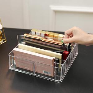 Image 3 - Caja de almacenamiento de organizador de maquillaje de acrílico transparente de 8 rejillas, caja de almacenamiento de maquillaje para mujeres, lápiz labial, sombra de ojos, soporte de exhibición, caja de almacenamiento de cosméticos
