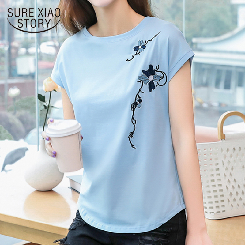 2020 New Cotton Women T-shirt Clothes Arrival O-neck Summer Tops Short Sleeve Casual Embroidery Women Tshirt Plus Size 8621 50