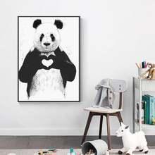 Картина на холсте черно белый постер с животными и принт панды