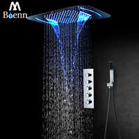 Rainfall LED Light Showerhead Waterfall Shower Head Misty Thermostatic Shower Faucet Mixer Embedded Ceiling Mounted Shower Set
