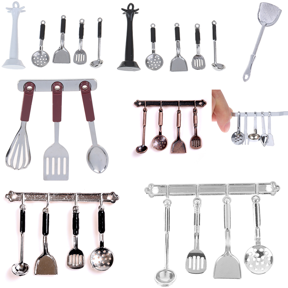 Mini Vintage Dollhouse Miniatures Tableware Cutlery Cook Tools Rack Fork Spoon Childrens Toy Doll House Simulaiton Kitchen Toys