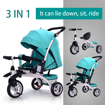 3 In 1 Can Lie Flat Infant Child Tricycle Bicycle 0-6 Years Old Baby Artifact Folding Cart Kids Bikes Three Wheel Stroller