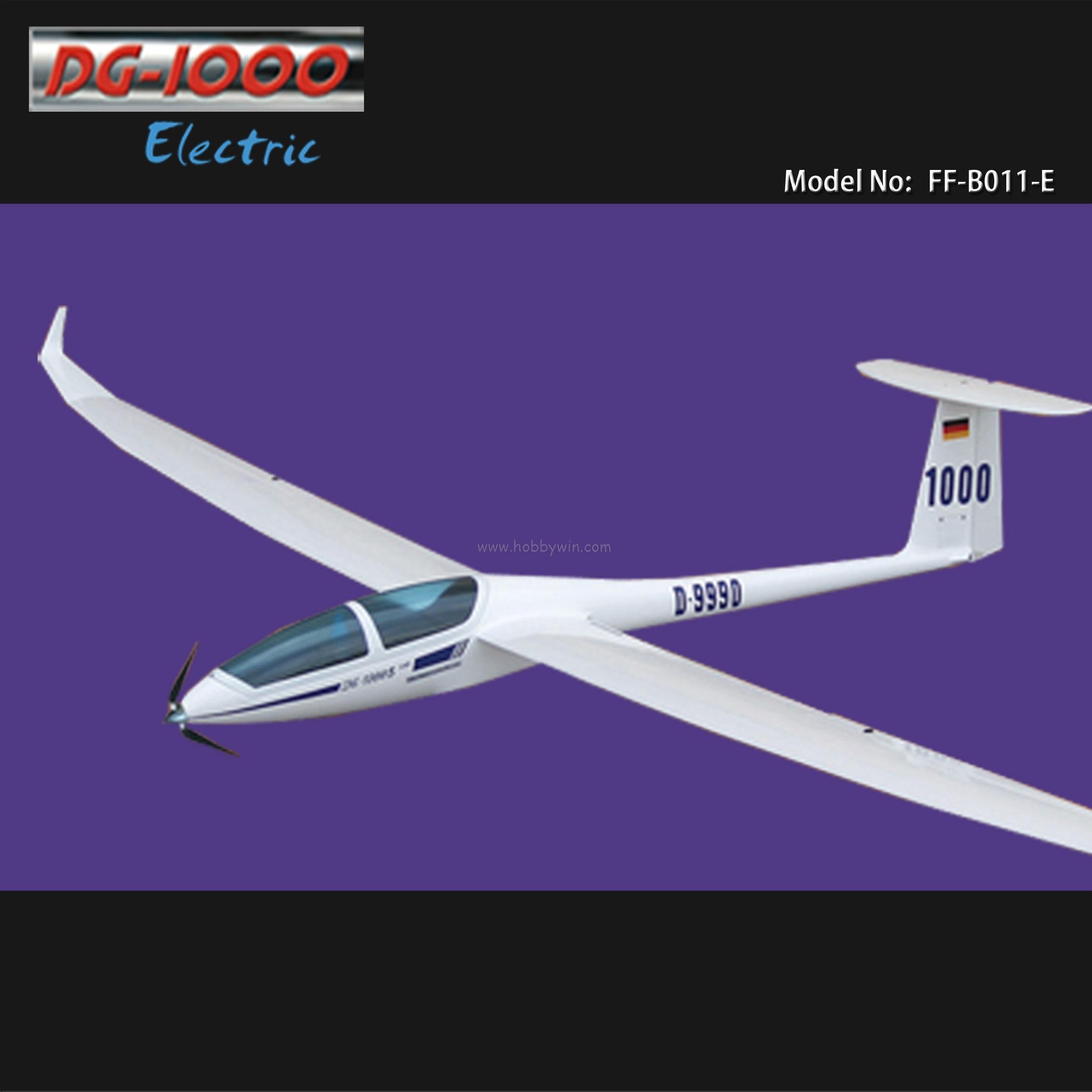 DG-1000 Электрический планер 2630 мм Стекловолокно Fuselage& деревянные крылья RC модель парусник