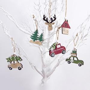 Image 2 - 2021ナヴィダードクリスマスツリー車の装飾木製ハンギングペンダントヘラジカクリスマスの装飾ホーム新年ノエル誕生日ギフト