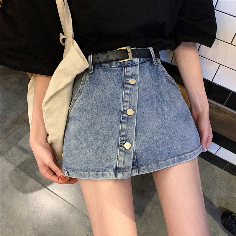 2019 Summer New Style WOMEN'S Dress Korean-style Fashion Irregular Anti-Exposure Denim Skirted Leggings Women's High-waisted Sli