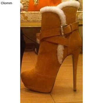 Olomm Women Winter Snow Ankle Boots Sexy Stiletto High Heels Boots Round Toe Gorgeous Black Camel Shoes Women Plus US Size 5-15