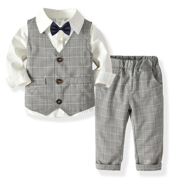 Size: 1-4 Years Waistcoat mintgreen Baby Boys Gentleman Suit Set Long Sleeve Shirt with Bowtie Pants