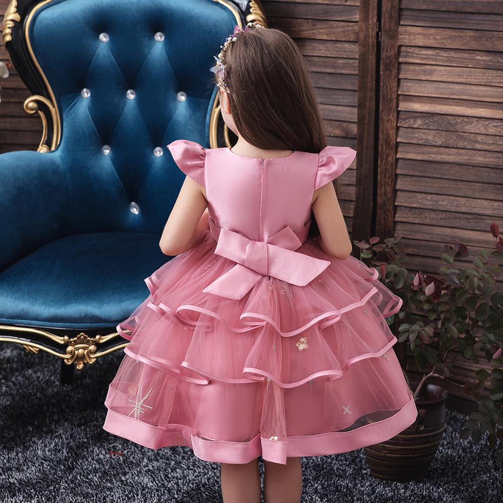 Kids Girl Cake Tutu Flower Dress Children Party Wedding Formal Dress for Girl Princess First Communion Costume New Arrival 2020 4