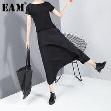 [EAM] High Elastic Waist Black Split Long Harem Trousers New Loose Fit Pants Women Fashion Tide Spring Autumn 2020 JY93401