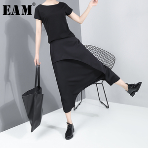 Image 1 - [EAM] High Elastic Waist Black Split Long Harem Trousers New Loose Fit Pants Women Fashion Tide Spring Autumn 2020 JY93401