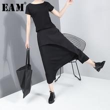 [EAM] Черные длинные штаны шаровары с высокой эластичной резинкой на талии, новые свободные брюки для женщин, модные Демисезонные брюки 2020 JY93401