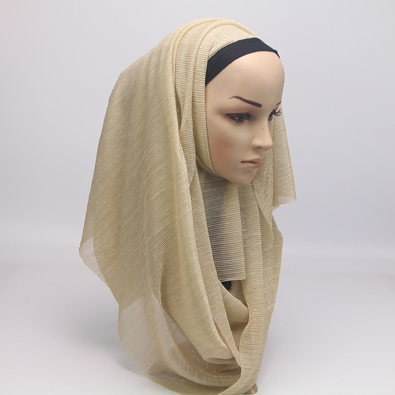 Image 5 - 2020 New Summer Ladies Gold Muslim Crinkle Wrinkle Glitter  Shimmer Hijab Scarf Shawl Women Pleated Islamic Arab Head  ScarvesWomens Scarves