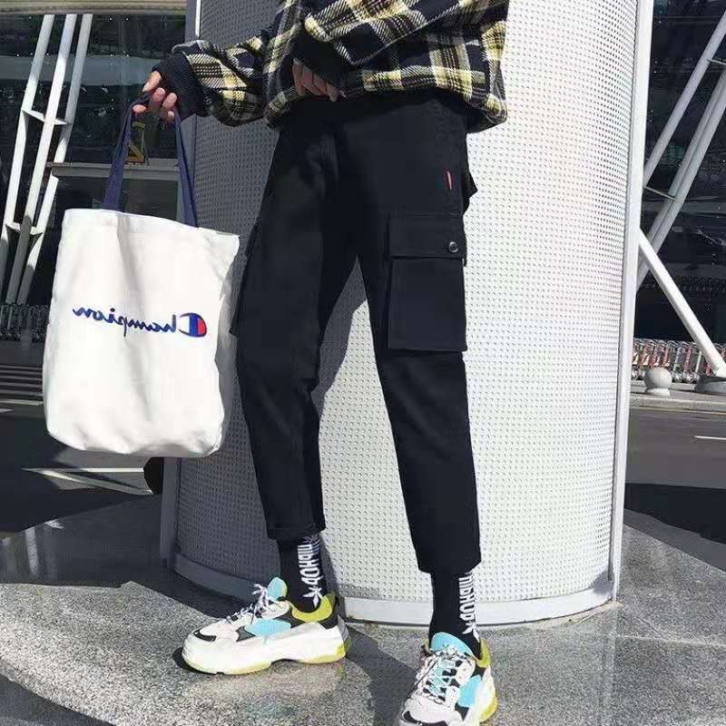 2019 Men Casual Bib Overall Youth Capri Sports Casual INS Pants Men's Korean-style Students Loose-Fit Pants