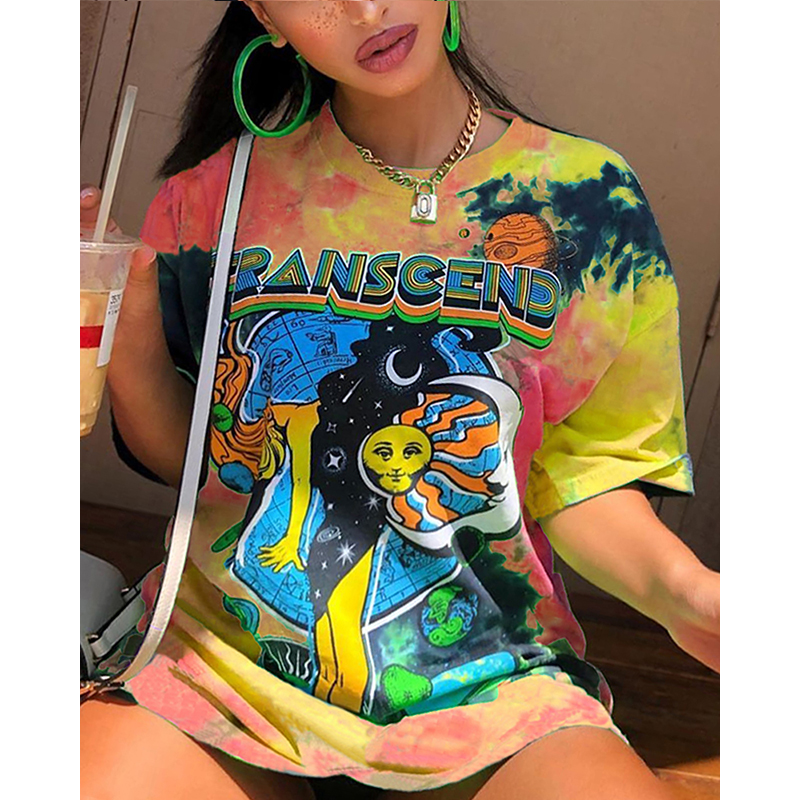 High Street Oversized T shirt Women Summer Y2K Clothes Plus Size Short Sleeve Harajuku O neck Graphic Bodyfriend Tee Tops