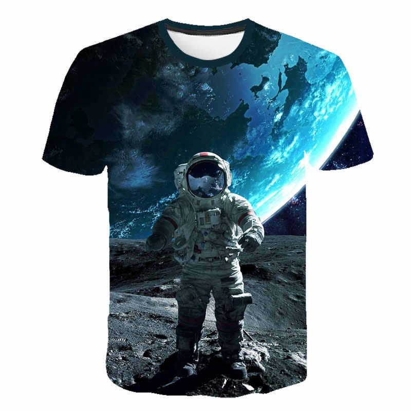 2019 3D เสื้อยืดชายนักบินอวกาศอวกาศ Planet บอลลูน 3D พิมพ์ Tees เสื้อ Moon Great Hero แขนสั้น Casual แฟชั่นเด็กเสื้อ