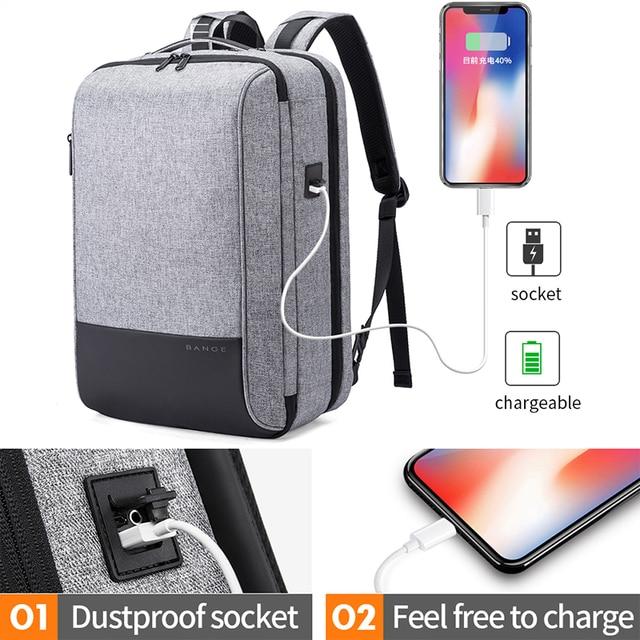 Bange Men Multifunction Waterproof USB charging Backpack Anti-thief TSL lock 15.6inch Laptop Backpacks Teenager Fashion Backpack