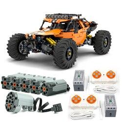 Nowe MOC-19517 4WD Buggy RC Technic seria klocki klocki zabawki dla zestawu DIY edukacyjne dla dzieci prezenty urodzinowe i świąteczne