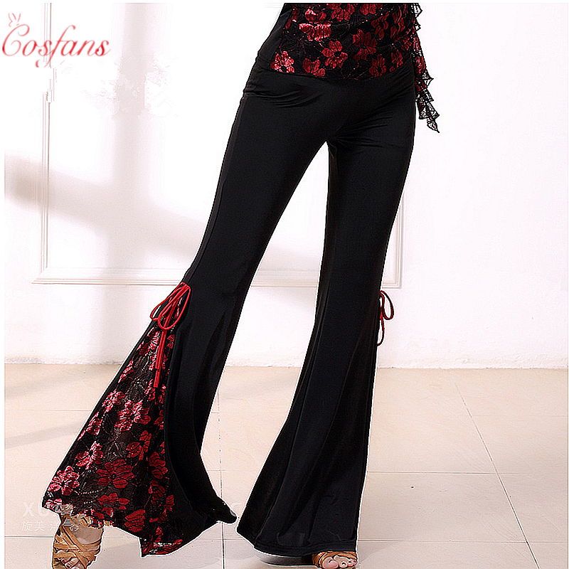 Latin Dance Costume Practice Clothes Long Trousers For Female/women Ballroom Performance Wear New Style Tassel Pants Free Shipp