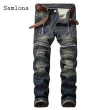 Весна Осень 2020 мужские джинсовые брюки Новые лоскутные плиссированные