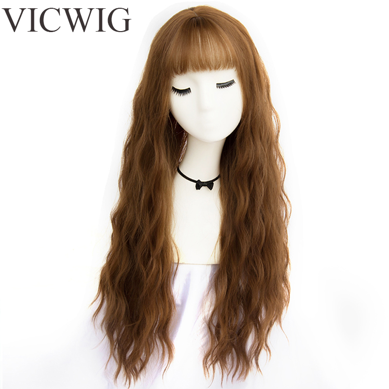 VICWIG Womens Long Curly Wigs with Bangs Heat Resistant Synthetic Grey Brown Black Wigs for Girl African American