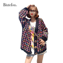2019 Autumn fashion rainbow color sweaters knitted v-neck cardigans women tops
