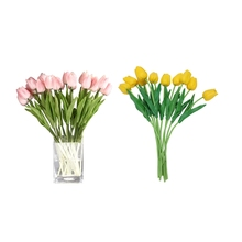 20 Pcs Latex Real-Touch-Tulip Flower with Leaves, for Wedding Bouquet Decor Flowers - 10 Pcs Yellow & 10 Pcs Pink