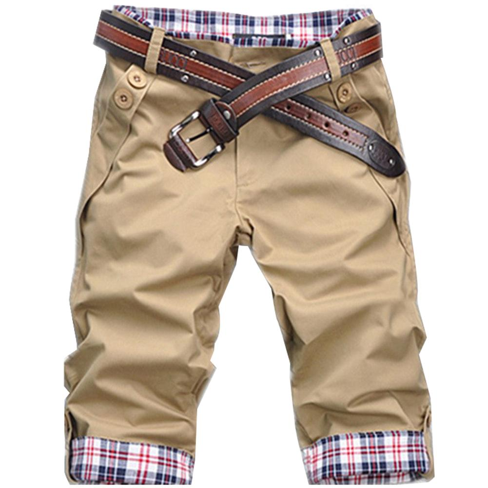 Summer Beach Casual Men Plaid Patchwork Turn Up Cuff Shorts Fifth Pants Trousers