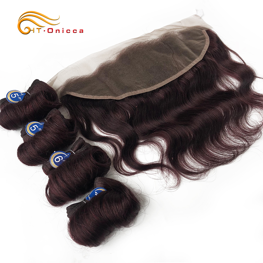 Mongolian Curly Hair Bundles With Lace Frontal Loose Wave Human Hair Extensions Double Drawn Colored Hair 100% Human Funmi Remy