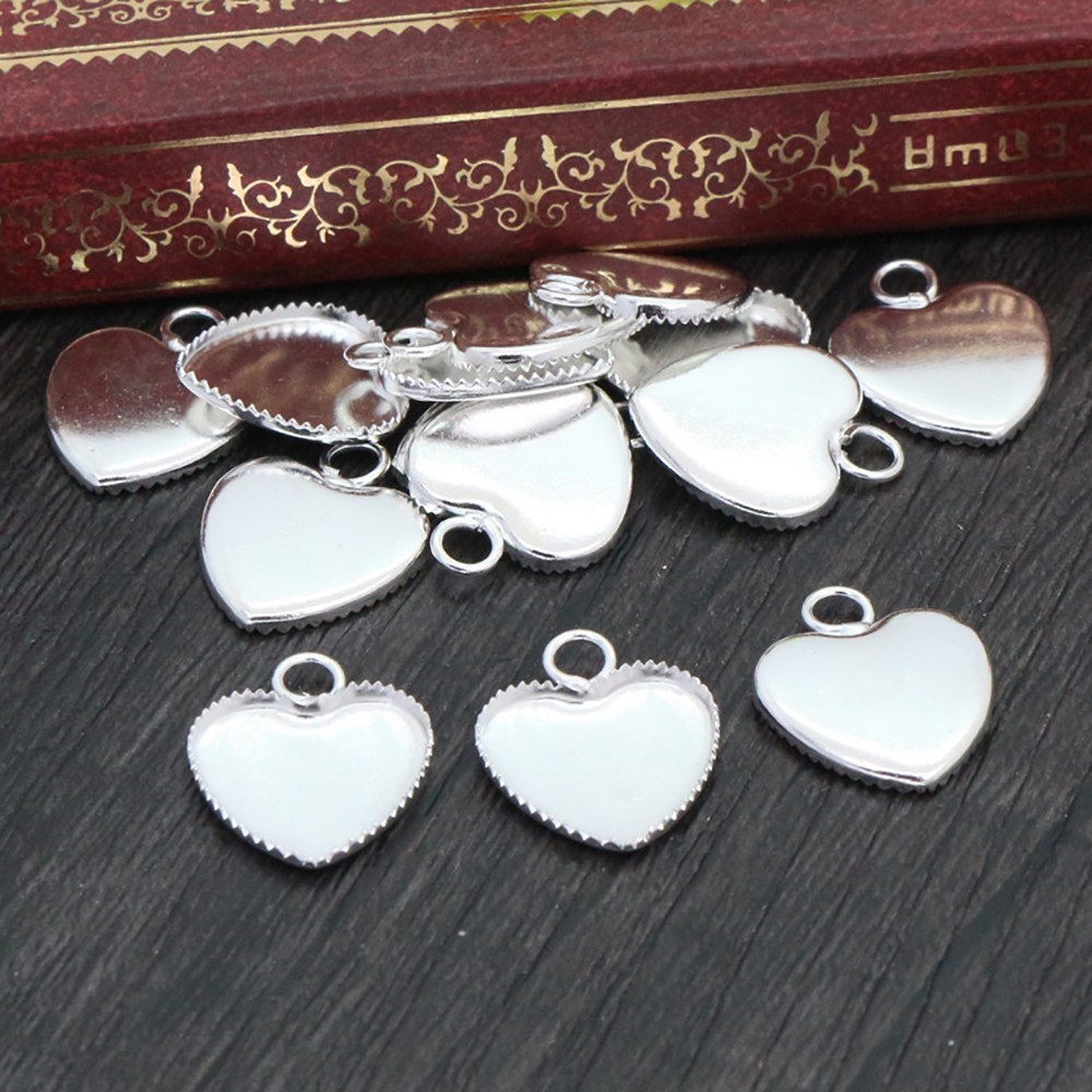 20pcs 12mm Inner Size Bright Silver Plated Brass Material Heart Style Cabochon Base Cameo Setting Charms Pendant Tray (A2-29)