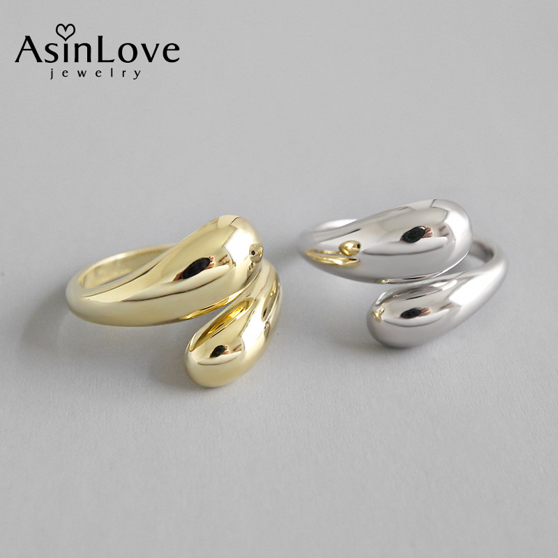 AsinLove 18k altın Minimalist pürüzsüz su damlası yüzük gerçek 925 ayar gümüş yüzük kadınlar için yaratıcı el yapımı güzel takı