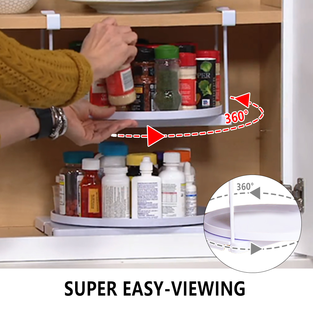 Kitchen Cabinet Organizer Rotatable And Drawable Storage Holder Tray SHELF GO ROUND A Good Helper In Your Pantry